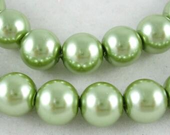 6mm Light Olivine Green Glass Pearl Beads - 32 inch strand