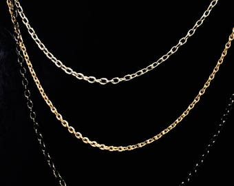 3 Chain Necklace with Silver Gold and Gunmetal Chain Layered Necklace