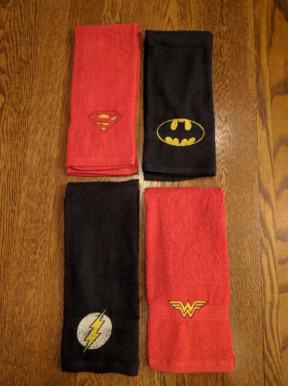 Custom Super Hero Towel Set  (2 hand towels, embroidered) (superman, wonder woman, batman, the flash, super hero, dc comics, comic books)