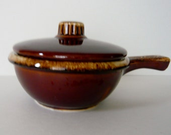 Vintage Covered Ramekin Hull Oven Proof USA Brown Drip Glaze