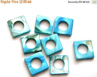 HALF PRICE 8 Blue Square Shell Beads