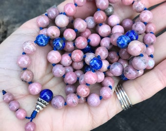 Rhodonite 108 Bead Mala Necklace