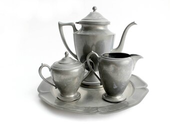 Pewter Tea Set, Coffee Pot & Creamer, Rustic Kitchen Decor