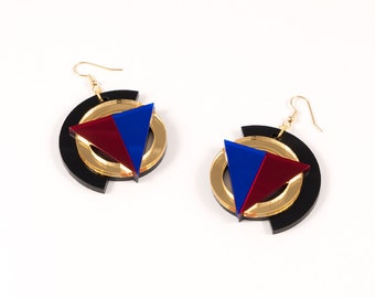 Geometric Perspex Statement Earrings - Gold, Red, Blue FORM_004