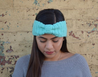 Light Blue Crochet Turban Headband