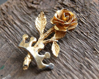 Gold Rose and Crown Brooch, Gold Rose Brooch, Gold Crown Brooch, Gold Rose Pin, Rose Lapel Pin, Rose and Crown Pin, Vintage Sweater Pin
