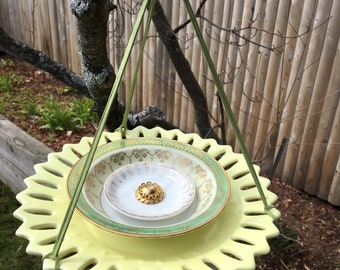 Yellow Green Repurposed Dish Bird Feeder, Upcycled Ceramic Plate Feeder, Garden Tea Party Decor, Hanging Yard Art, Trinket Dish, Centerpiece