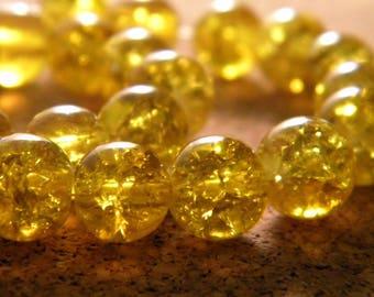 glass Crackle 8 mm bead - yellow - glass - PE139 50 beads