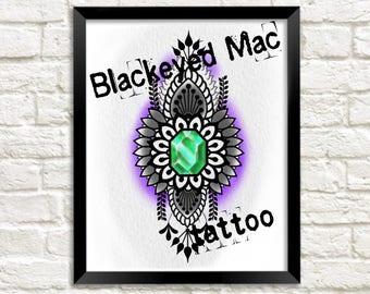 Henna jewel tattoo art painting