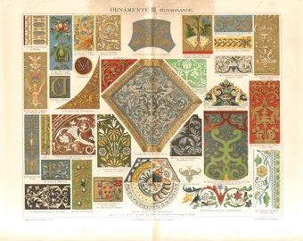 1896 Renaissance Ornaments Original Antique Chromolithograph