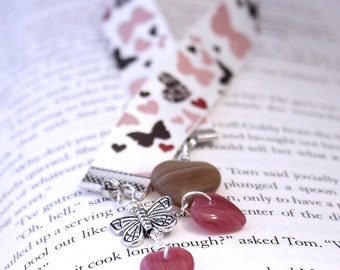 Ribbon Bookmark - Blush Pink, Chocolate Brown Hearts and Butterflies on Cream, Czech Glass Beads, Choice of Length