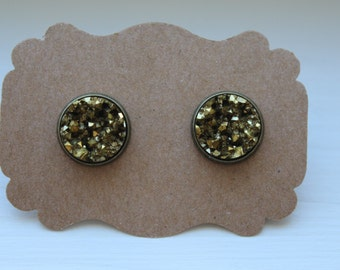 Pyrite Druzy Earrings, Gold Earrings, Drusy Earrings, 12mm Brass Post, Druzy Earrings, Brass Druzy Post, Pyrite Gold Druzy Earrings, Studs