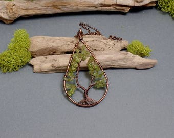 Peridot Tree of Life Necklace - Peridot Necklace - Gemstone Necklace - Peridot Teardrop Pendant - Copper Necklace - Green Teardrop Necklace