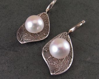 Large mabe pearl earrings with handmade recycled fine silver-OOAK June birthstone