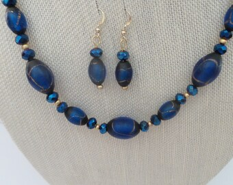 Royal Blue Gold Glass Necklace Earrings Gold Filled