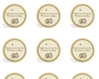 "Instant Download Classic Winnie the Pooh inspired 1.5"" Thanks you tags for favors"