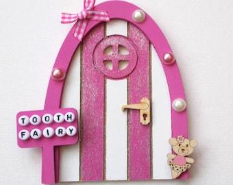 Wooden Tooth Fairy Door Pink with Wooden Teddy