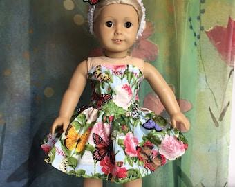 American Girl Rose Garden Butterfly Dress Set