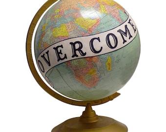 Vintage Globe Art, Overcome, Bird, World Globe Art