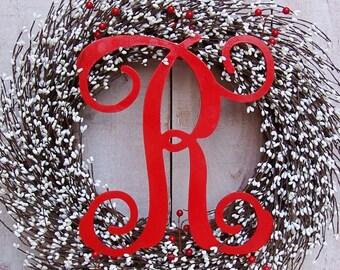 Spring Front Door Wreath-Spring Wreath-Monogram Wreath-Front Door Wreath-Summer Wreath-Initial Wreath-WHITE BERRY MONOGRAM Door Wreath