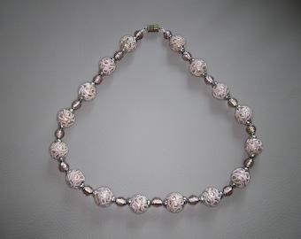 Vintage Venetian Glass Necklace - Weddig Cake Necklace
