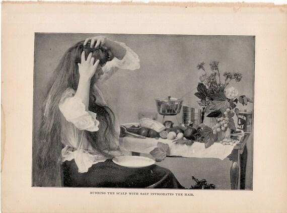 1901 Reiben der Kopfhaut Haar original antike medizinische