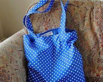 Royal and White - Polka Dot Tote Bag - Shopping Bag - Strong Tote Bag - Gift For Her - Craft Bag - Reusable Bag - Handmade Bag - Market Bag