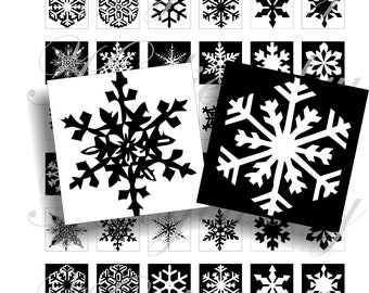 Black and white snowflakes 1x1 inch images for pendant or scrapbook Digital Collage Sheet No.1011
