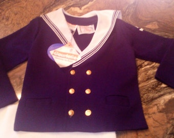 """Sweet Vintage Boys Sailor Suit Christening Romper Suit  1950's or 1960's Unworn with Tags Size 24"""""""