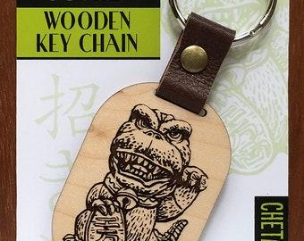 Maneki-Neko Good Luck Gojira- Wooden Keychain- Laser Etched Maple Wood- Lucky Talisman
