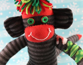 Sock Monkey / Christmas / with Grey Stripes and Christmas Trees with Santa Hats / Christmas Decoration / Holiday Decoration / Christmas Gift