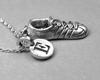 Running Shoe Necklace, tennis shoe charm, Sneaker charm,  silver pewter, initial necklace, initial jewelry, personalized gift, monogram