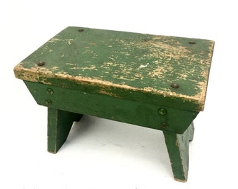Antique Foot Stool Small Green Wood Vintage Footstool
