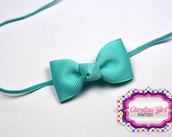 Aqua Newborn Headband - Small Headband withTiny Bow on Skinny Elastic - Girls Hair Bows