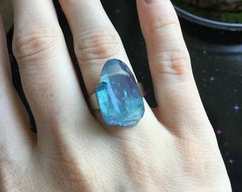 Aqua Aura Quartz silver tone adjustable ring