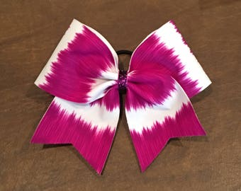 Cheer Bow - Purple and White Stripes