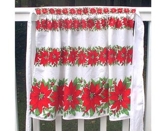 Vintage Christmas Apron Red Green Poinsettias Holly