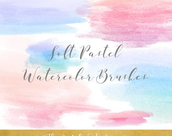 Soft Pastel Watercolor Paint Brush Clipart - In Pink & Blue - INSTANT DOWNLOAD - 20 .PNG Files