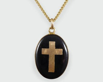 Antique Cross Mourning Locket and chain in 9ct Gold N53