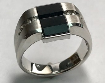14 K White Gold Onyx & Diamond Band