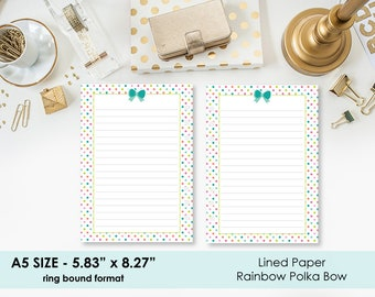 A5 Lined Rainbow Polka Dot Bow planner printed insert - line paper - lines - lined planner page - true A5 - ring bound planner refill