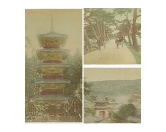 Set of 3 Antique Hand-Colored Albumen Photos: China, c1900 (71543)