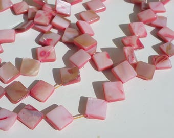 32 pink shell beads pale Pearly square 10 mm hole 1 mm