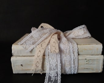 Old Book Stack Decor Chalk Paint White Wedding Centerpieces Distressed Decorative books set for display French Country Rustic Decor