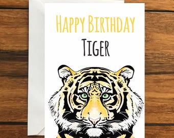 Happy Birthday Tiger Blank greeting card A6