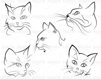Cats Clipart Chalkboard Cats Clip Art Lineart Clipart Tribal Cats Scrapbooking Cat Silhouette Tattoo Cat