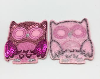 10pcs Pink Sequins Patches For Clothing Owls Iron On Embroidered Patch Sewing DIY Applique Stickers Badge 45x50mm