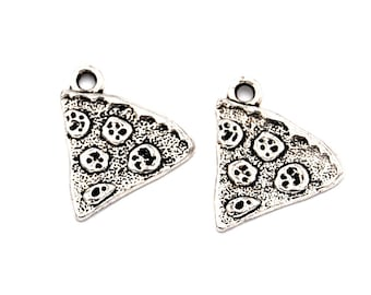 20pc, Pizza Slice Charm, Antique Silver
