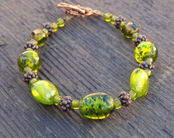 Green glass and copper bracelet, Black Friday/Cyber Monday free shipping