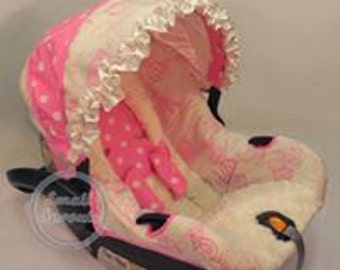 Paris French Toile/Polka Dot/Ivory Minky Infant Car Seat Cover 5 piece set